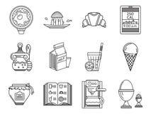 Linea icone della prima colazione messe Fotografia Stock