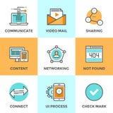 Linea icone della rete dell'utente messe illustrazione vettoriale