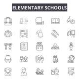 Linea icone della scuola elementare per il web e la progettazione mobile Segni editabili del colpo Concetto del profilo della scu illustrazione vettoriale