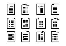 Linea icone della società messe su fondo bianco, raccolta di costruzione nera di vettore, insieme isolato dell'illustrazione di a illustrazione di stock