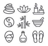 Linea icone della stazione termale Fotografia Stock Libera da Diritti