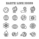 Linea icone della terra Fotografia Stock