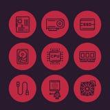 Linea icone delle componenti di computer messe royalty illustrazione gratis