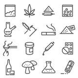 Linea icone delle droghe illustrazione vettoriale