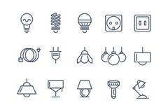 Linea icone delle lampadine e della lampada di vettore messe elettrico Fotografia Stock