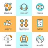 Linea icone delle metafore di affari di successo messe Fotografia Stock Libera da Diritti