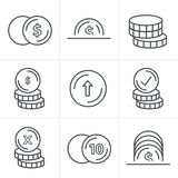 Linea icone delle monete di stile delle icone messe fotografia stock libera da diritti