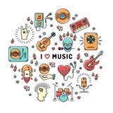 Linea icone di arte, citazione d'ispirazione di infographics di musica illustrazione vettoriale
