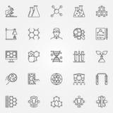 Linea icone di biotecnologia messe illustrazione di stock