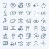 Linea icone di Bitcoin Fotografia Stock