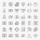 Linea icone di Bitcoin messe Immagini Stock