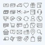Linea icone di commercio elettronico messe Fotografie Stock