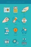 Linea icone di concetto del settore bancario e di finanza messe Fotografia Stock