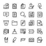 Linea icone di Copywriting messe illustrazione vettoriale