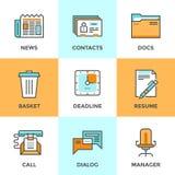 Linea icone di cose dell'ufficio messe royalty illustrazione gratis