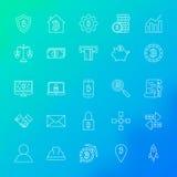 Linea icone di Cryptocurrency Fotografie Stock Libere da Diritti