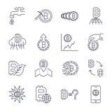 Linea icone di Cryptocurrency messe Raccolta di vettore dei simboli sottili di finanza di Bitcoin del profilo Colpo editabile illustrazione vettoriale