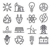 Linea icone di energia Fotografia Stock