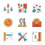 Linea icone di flusso di lavoro di affari messe Fotografia Stock