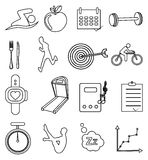 Linea icone di forma fisica di salute messe Fotografie Stock