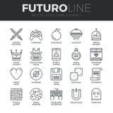 Linea icone di Futuro degli elementi del video gioco messe Fotografia Stock
