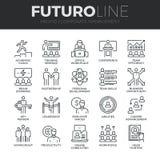 Linea icone di Futuro della gestione aziendale messe illustrazione di stock