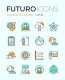 Linea icone di futuro della gestione di impresa illustrazione vettoriale
