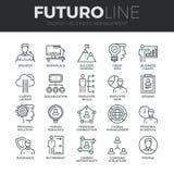 Linea icone di Futuro della gestione di impresa messe illustrazione di stock