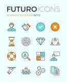 Linea icone di futuro delle soluzioni di affari Immagine Stock
