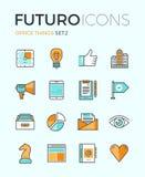 Linea icone di futuro di cose dell'ufficio Immagine Stock Libera da Diritti