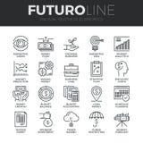 Linea icone di Futuro di economia di affari messe illustrazione vettoriale