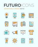 Linea icone di futuro di pubblicità Fotografie Stock Libere da Diritti