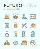 Linea icone di futuro di servizi degli esercizi alberghieri royalty illustrazione gratis
