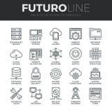 Linea icone di Futuro di tecnologia di rete messe