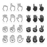 Linea icone di gesti di mano messe illustrazione di stock