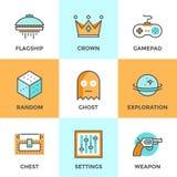 Linea icone di gioco del computer messe illustrazione di stock