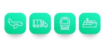 Linea icone di industria del trasporto Immagine Stock