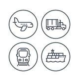 Linea icone di industria del trasporto illustrazione vettoriale
