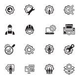 Linea icone di ingegneria Immagine Stock