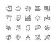 Linea icone di ingegneria illustrazione vettoriale