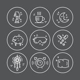Linea icone di insonnia Immagine Stock