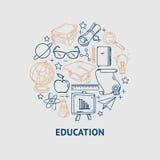 Linea icone di istruzione di vettore messe nella forma del cerchio Fotografia Stock Libera da Diritti