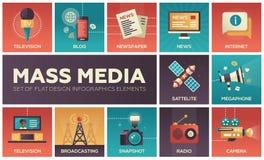 Linea icone di mass media di progettazione messe illustrazione vettoriale