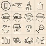 Linea icone di mostra Fotografia Stock Libera da Diritti
