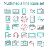 Linea icone di multimedia messe Fotografie Stock Libere da Diritti