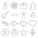 Linea icone di Natale Fotografia Stock