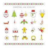 Linea icone di Natale messe Fotografia Stock