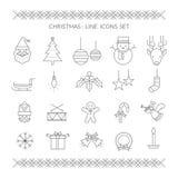 Linea icone di Natale messe Fotografie Stock Libere da Diritti