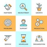 Linea icone di organizzazione e di cooperazione messe illustrazione di stock