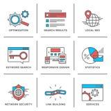 Linea icone di ottimizzazione del motore di ricerca messe Fotografia Stock Libera da Diritti